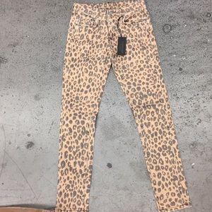 Carmar leopard print denim jean